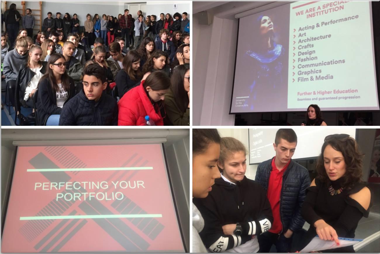 Архитектура, дизайн, мода, медии: Посещение на University of the Creative Arts в Международно училище Златарски